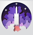 space rocket startup paper cut style vector image