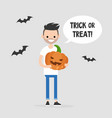 trick or treat halloween young character holding vector image vector image