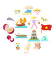 vietnam icons set cartoon style vector image