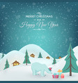winter countryside polar bear gifts xmas new year vector image vector image