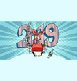 2019 happy new year penguin in a fancy dress pig vector image vector image