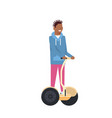 african boy riding gyroscooter over white vector image vector image