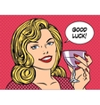 Beautiful woman toast glass wine good luck vector image vector image