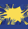 blue leaves on yellow background paper art vector image vector image