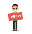 boy holding poster with word i love you vector image vector image