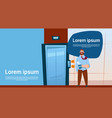 business man boss waiting elevator hold hot coffee vector image