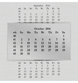 calendar month for 2016 pages October vector image vector image