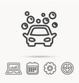car wash icon cleaning station with bubbles vector image vector image