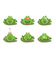 cartoon cute green frogs characters icon set vector image vector image