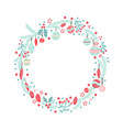 christmas wreath with balls berries branches vector image