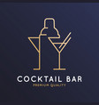 cocktail bar logo with cocktail shaker and glass vector image vector image