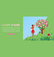 concept happy spring love or valentine day vector image