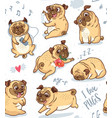 cute funny pug pupies seamless pattern background vector image vector image