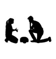 first aid dummy demonstration silhouette vector image vector image