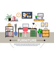 flat designer workspace round composition vector image