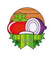 fresh tomato with purple onion vector image vector image