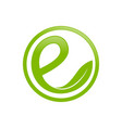 green circular organic initial e lettermark icon vector image