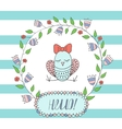 greeting card invitation in a blue strip vector image vector image