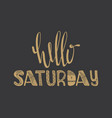 hello saturday quote vector image