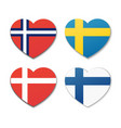 icons of scandinavian flags in shape of hearts vector image vector image