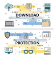 line art download protection poster banner vector image