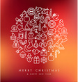 Merry Christmas circle icons set card
