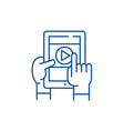 mobile learning line icon concept mobile learning vector image