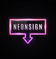 neon banner with down arrow on dark background vector image vector image
