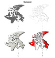 Nunavut blank outline map set vector image vector image