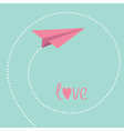 Origami paper plane Dash spiral in the sky Love vector image vector image