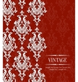 Red Vintage Invitation Card with Floral vector image