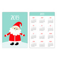 santa claus on snow drift red hat pocket calendar vector image vector image