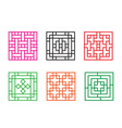 set of chinese pattern window in square concept vector image vector image