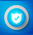 shield with check mark icon on blue background vector image vector image
