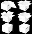 Six boxes isolated on black background vector image vector image