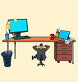 small businessman under a large office desk vector image vector image