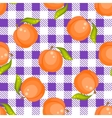 Tartan plaid with peaches seamless pattern vector image