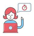 technology woman cartoon vector image vector image