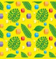 tropical leaves and cubes vector image vector image