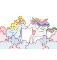 unicorns on clouds vector image vector image