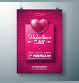 valentines day party flyer design with typography vector image vector image