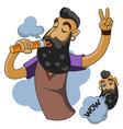 vapor man man with vape and cloud vector image vector image