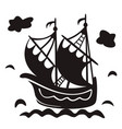 vintage sailboat floating on waves black and vector image vector image