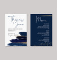 wedding navy grunge splash invitation cards with vector image vector image