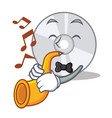 with trumpet cd mascot cartoon style vector image