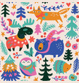 woodland whimsical animals seamless pattern in vector image