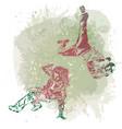 two break dance dancers on handcrafted splashes vector image