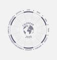 2020 calendar templatecircle calendar vector image vector image