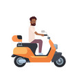 african man riding electric scooter over white vector image