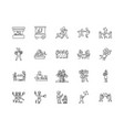 anniversary line icons signs set outline vector image vector image